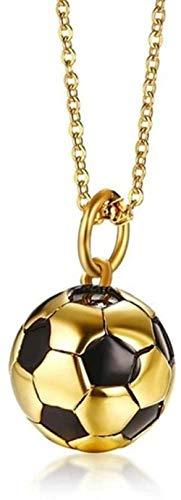 Liuqingzhou Co.,ltd Bola de fútbol Azul 3D Colgante Colgante Collar de Cadena del Encanto Regalo Unisex de la joyería con 24 Pulgadas