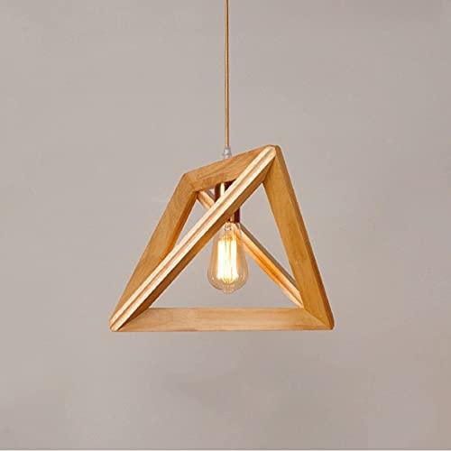 Wmdtr Lámpallas geométricas, lámpara Colgante de Madera Maciza Simple, iluminación de decoración de Arte Interior, E27 Colgante de iluminación para Dormitorio Sala de Estar Cafe