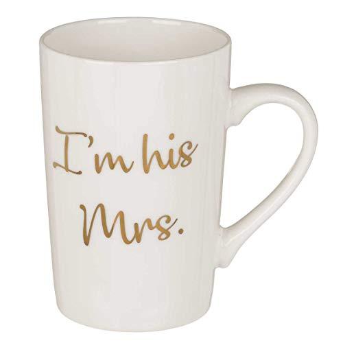 Kaffeebecher I´m his Mrs. 300 ml, hohe Kaffeetasse als Geschenk für die Ehefrau zu Valentinstag, Hochzeit, etc. Ø 8 cm, Steingut, als Partnertasse Ergänzung zur Tasse I'm her Mr.