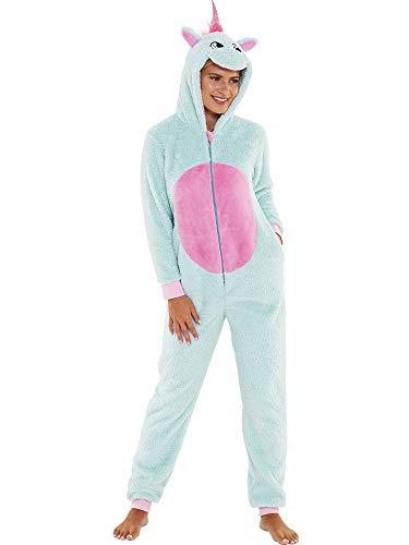 Love to Sleep Women's Supersoft Fleece Unicorn Reindeer Hearts Leopard Onesie Jumpsuit UK Seller - Aqua Glitter Unicorn - Medium
