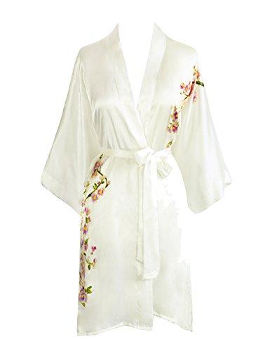 Kim+ONO Women's Silk Kimono Robe Short - Handpainted Peacock - White