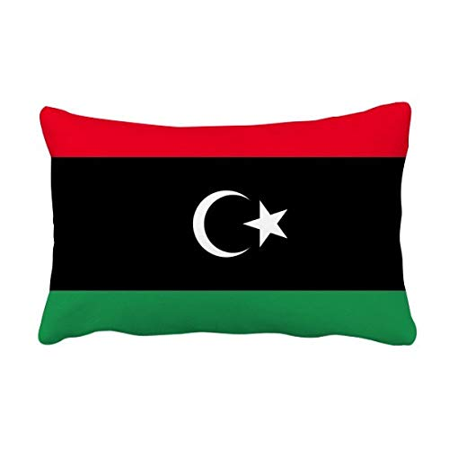 DIYthinker Libyen National Flagge Afrika Land Werfen Lendenkissen Kissenbezug Startseite Dekor-Geschenk 16 Zoll x 24 Zolls Mehrfarbig