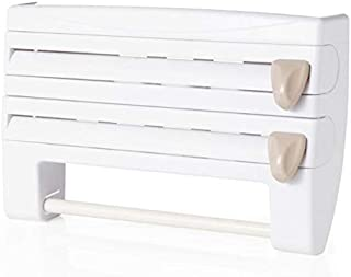 SHERNICE Wardrobe Rack Multifunctional Paper Towel Tissue Storage Rack Paper Dispenser Kitchen Film Cling 4 in 1 Wall Mounted Paper Towl Roll Holder