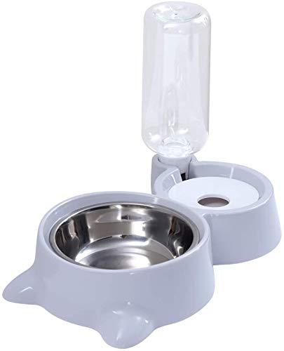 Cuenco Para Gatos Perro Con Water Aotellas Automáticas 2 en 1 Comedero De Agua Para Mascotas,Cuenco Inoxidable Dispensador De Agua Automático, Cuenco De Alimentación Para Mascotas(Gris)