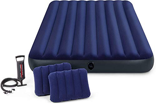 Intex 64736 Midnight Green Classic Downy Set Queen Airbed with Manual hand pump 152 x 203 x 25 cm/Dura Beam Fiber Tech Technology