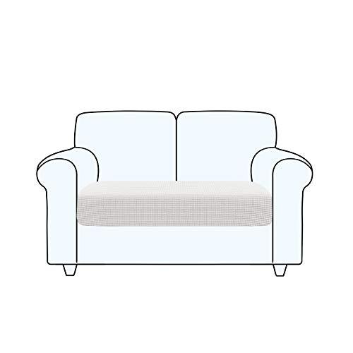 TAOCOCO Fundas de cojín para sofá,Protector de cojín de Asiento de Tela de poliéster de Alta Elasticidad (Blanco Ostra, 2 Asientos)