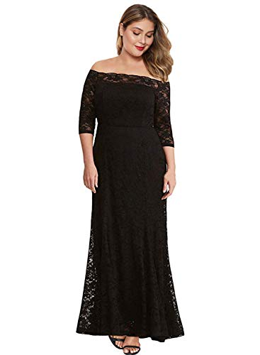 Black and White Plus Size Wedding Dress Off the Shoulder Black Lace