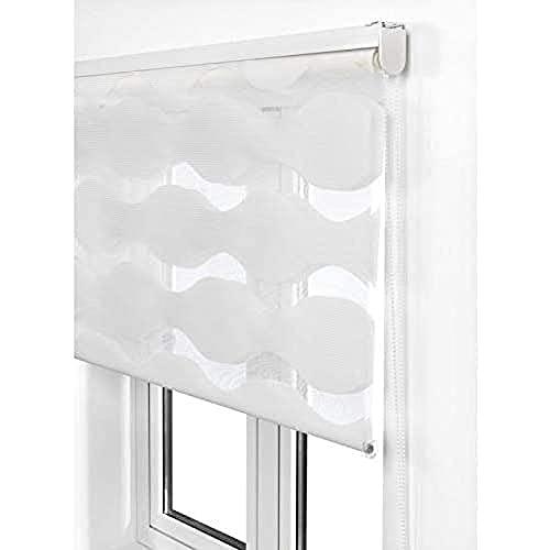 Estoralis JEOR Estor Enrollable Doble Tejido, Noche y día, Blanco, 145 x 175 cm