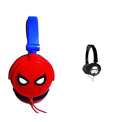 Spiderman Auriculares Estéreo con Diadema Ajustable, Color Distintos + Star Wars Hp015Sw Auriculares Estéreo, Diadema Ajustable Y Plegable, Casco Audio, Color Negro, 20,4 X 16,8 X 73 Cm