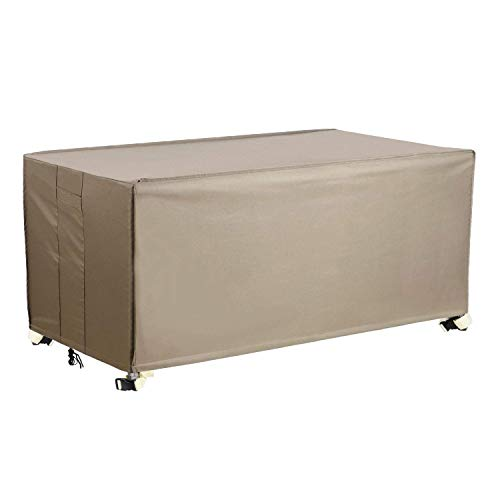 Patio Deck Box Cover, XL Patio Ottoman Cover with Straps and Handles, 100% Waterproof Heavy Duty Outdoor Furniture Cover for Keter, Suncast, Lifetime Storage Box