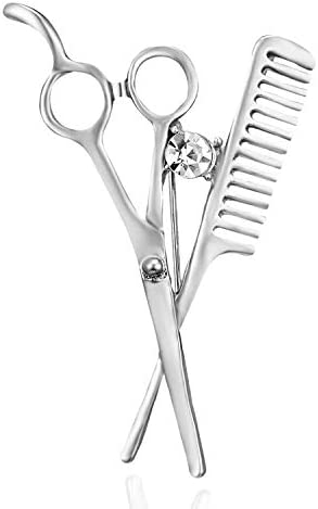 Clest F&H Scissors comb Brooch Pin Rhinestone Corsages Scarf Lapel Pin Decoration