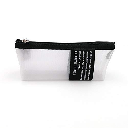 鮮やかな日々 ペンケース 筆箱 小物入り 筆入れ シンプルスタイル 半透明 メッシュ (ブラック)