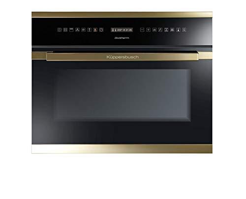 Küppersbusch Design Compact Einbau-Backofen EEBK6551.0JX, 45cm, Schwarz mit Designkit Gold, Energieklasse A, 28 Programme und Funktionen, Automatikprogramme, Grafik-Display, Bratenthermometer