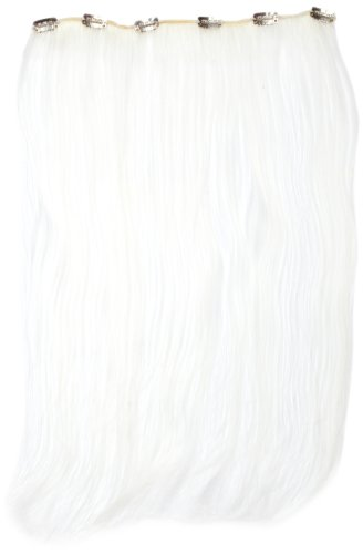 Love Hair Extensions - LHE/K1/QFC12/18/WHITE - Thermofibre™ - Barrette Unique Extensions à Clipper - Blanc - 46 cm
