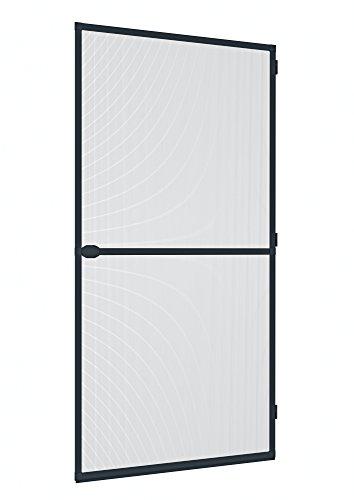 Windhager Insektenschutz Spannrahmen-Tür Plus, Fliegengitter Alurahmen für Türen, individuell kürzbar, 100 x 210 cm, Anthrazit, 04307
