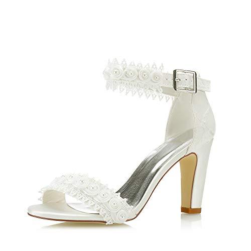 JIAJIA 5471A De Las Mujeres Zapatos de Novia Punta Abierta 8,5cm Tacón...