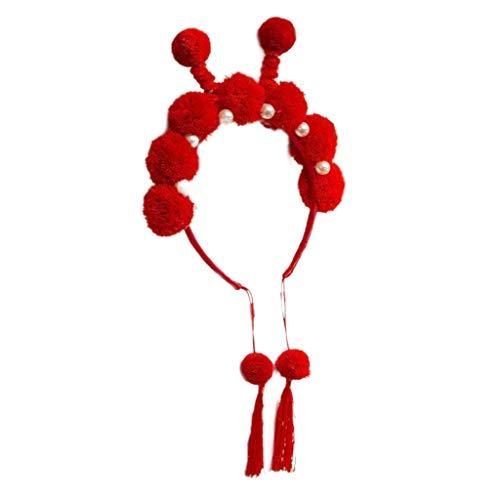 Leiouser - Diadema roja para niños y niñas, diseño de nudo Hanfu con borlas de Año Nuevo