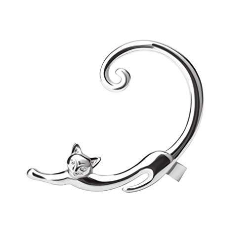 Damen Ohr Kletterer Ohr-Stulpen - Katze, Tier Erklärung, Einfach Gold/Schwarz/Silber Für Ausgehen Geburtstag,Silver