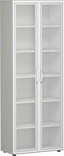 Gera Möbel, B x T x H 800 x 420 x 2160 mm, 6 OH, 5 Böden, Glastüren, Justierfüße Büro-Flügeltürenschrank, Holz, lichtgrau, 60 x 43 x 220 cm