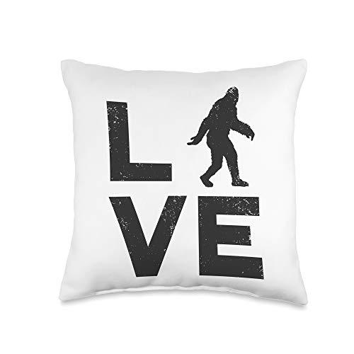 Bigfoot Yeti Sasquatch Apparel LOVE Bigfoot Yeti or Sasquatch Retro Throw Pillow, 16x16, Multicolor