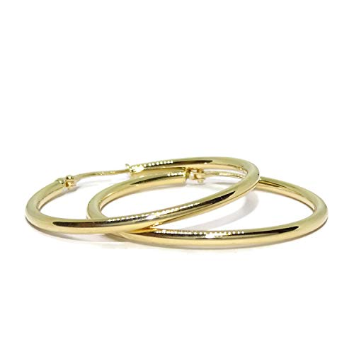 18k Yellow Gold Hoop Earrings 2mm Wide by 3.2cm Outside Diameter Weight; 2.0 Grams of 18k Gold A 'Round' Gift