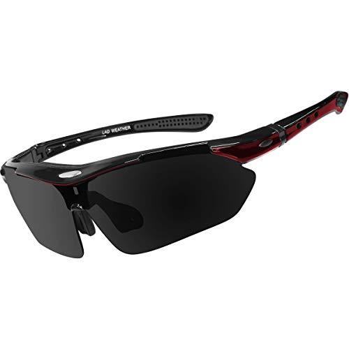 [ラドウェザー]サングラス メンズ 偏光レンズ 12点セット 滑り止め 衝撃吸収 汗止め ネックストラップ (赤)