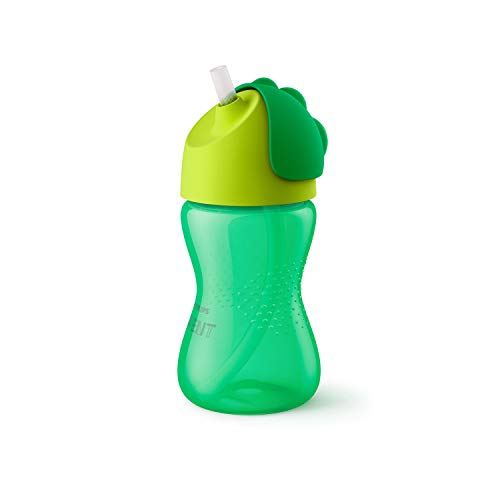 Philips Avent SCF798/01 - Vaso con pajita flexible, 300 ml, 12 m+, válvula antigoteo, piezas compatibles Philips Avent, color verde