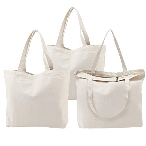 Tote Bags with Zipper, 3PCS Segarty 16.5x13 inch Natural Cotton Heavy DIY Tote for Crafting, Ironing and Embroidering, White Canvas Tote, Reusable Grocery Shopping Bag