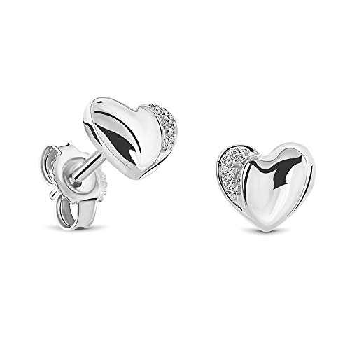 Miore Women's 0.02 Carat Diamond Heart Stud Earrings with Diamonds in White Gold / Yellow Gold 18 Carat / 750 Gold