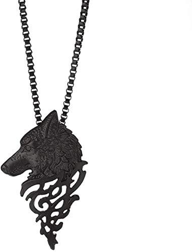 Necklace for Women Men Collar con Colgante de Cabeza de Lobo para Hombre de época Americana Europea Collar de suéter de aleación Masculina de Moda joyería de Cosplay - NegroPendant Necklace Girls Bo