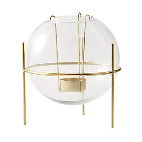 LJJOO Titular de Oro del Hierro esféricas de Vidrio Vela, romántica Creativa de Led Velas o la Vela del Pilar de la decoración de la Mesa Candelero (Size : L)