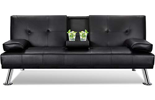 YAHEETECH Modern Faux Leather Convertible/Folding Upholstered/Futon Sofa Bed Couch with Removable Armrests Metal Legs and Cup-Holder for Living/Bonus/Office Room, Black
