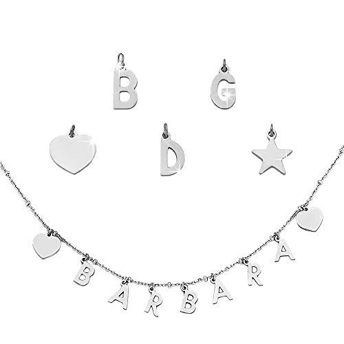 Beloved Collana componibile con sferette in acciaio – personalizzabile fino a 15 lettere e simboli pendenti – nome, parola, iniziali, simbolo – colore silver (5 Lettere/Simboli)