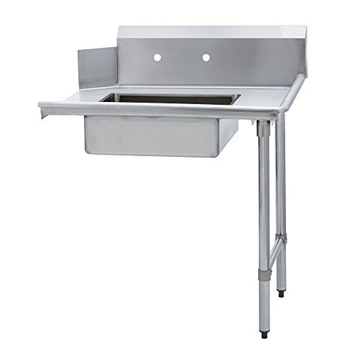 Fenix Sol Stainless Steel Commercial Kitchen Soiled Dish Table, Right Side, 30'W x 48'L x 44'H, Galvanized Legs and Bracing