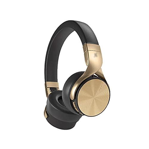 Auriculares Auriculares sobre oído Bluetooth Auriculares Plegables de Ruido Cancelación de Ruido Modo cableado 48H Playtime Protein Earpad Mic Integrado Gaming (Color : Black)