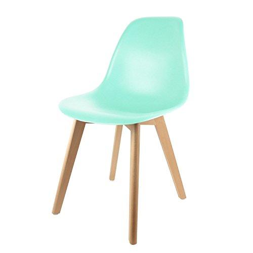 THE HOME DECO FACTORY Chaise scandinave Enfant - H. 56,5 cm - Vert