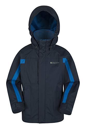 Mountain Warehouse Samson Jacke für Kinder - Regenjacke mit getapten Nähten, verstellbare Bündchen, elastischer Saum & Kapuze, Mesh-Futter - Ideal für Regenwetter Marineblau 9-10 Jahre