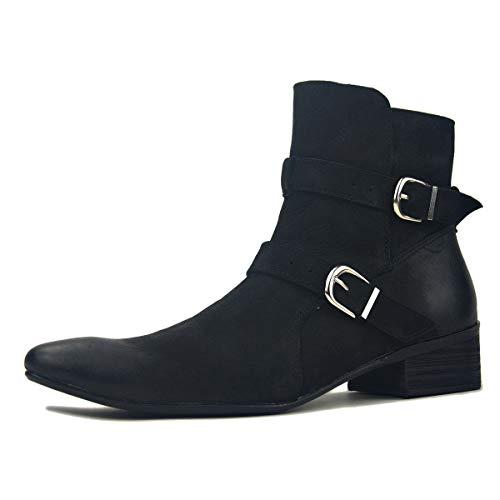 Herren Mode Chukka-Stiefel aus echtem Leder Kleid Stiefelette Schnalle Lässige Chelsea-Stiefel Rindsleder Schuhe Herbst und Winter