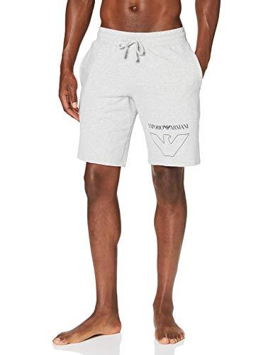 Emporio Armani Underwear Herren Homewear - Thin Eagle Bermuda Shorts, Grau (Grigio Melange 00048), W(Herstellergröße:L)