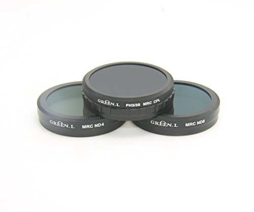 GREEN.L MC16-Layer CPL Circular Polarizer Filter +Neutral Density Filter (ND4)+Density Filter (ND8) for DJI Phantom 3 4K, DJI Phantom 3 Standard, Advanced, DJI Phantom 3 Pro, Phantom 4 Quad-copters
