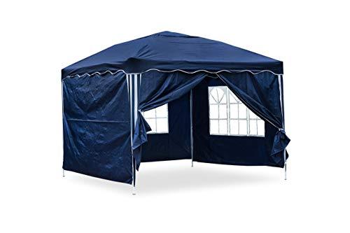 JOM Tente de réception Nordsee II pliante 3 x 3 m, Bleu, Les parois latérales équipées de 2 fenêtres / paroi ouvrable / paroi...