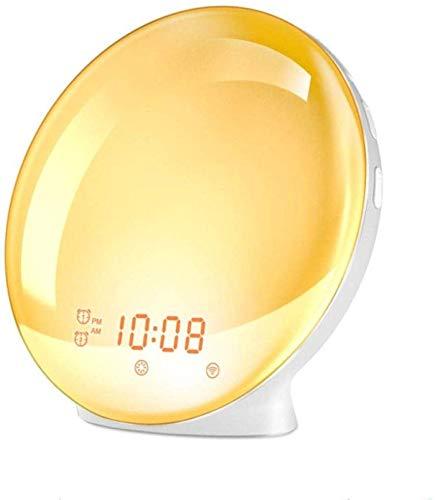Voice-gestuurde led-wekker, kleurrijke lichten, intelligente simulatie zonsopgang, zonsondergang, digitale wekker, slaaplicht, FM-radio, 6 inch