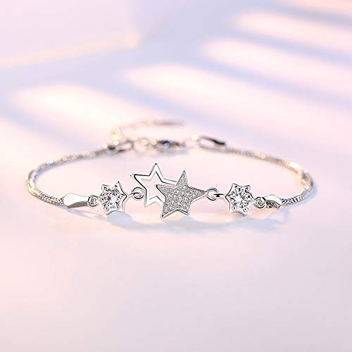 Pulsera Pulsera De Estrella De Cinco Puntas De Moda Simple De Plata Esterlina para Pulseras Y Brazaletes De Mujer Blanco