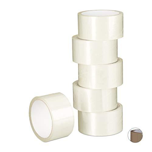 Relaxdays pakketband, 6 rollen, pakketplakband 40 m lang, PP-folie, tape 48 mm breed, verpakkingstape, transparant