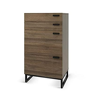 WLIVE 4 Drawer High Dresser, Drawer Chest, Storage Cabinet with Steel Legs for Home Office