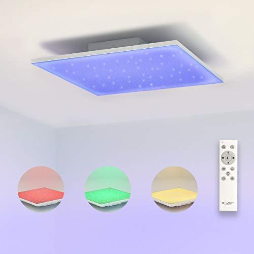 SHILOOK Led Deckenleuchte Dimmbar mit Fernbedienung, 15W 30x30cm Deckenlampe Panel Farbwechsel, 1200LM für Wohnzimmer/ Schlafzimmer/ Kinderzimmer, Quadratisch Modern Sternenhimmel