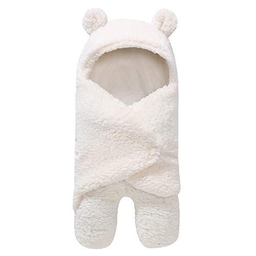 Yuehuam Recién Nacido Swaddle Manta Encantadora Oso Capucha Ultra Suave Pierna Separada Que Recibe Envoltura Envoltura Blanco Bebé Saco de Dormir para Niñas Niños Ducha Regalo