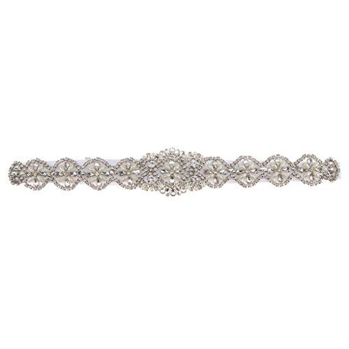 Clear Rhinestone Pearls Sash Boda Vestido De Novia Cinturón Accesorios para Fiestas - Blanco, 41 x 5 cm