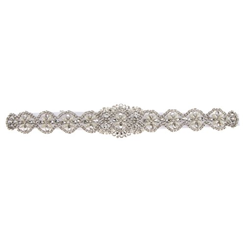 Sharplace Antiguo Cinturón de Lazo con Perlas Flor Artificial Vestido de Novia Decoración de Casamiento - Blanco, 41 x 5 cm