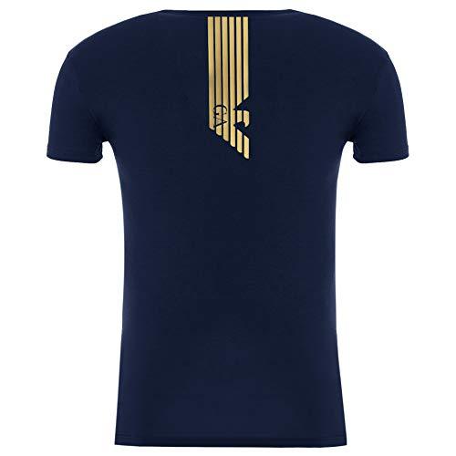 Emporio Armani Maglietta da uomo 111035 6A512, a maniche corte, con scollo rotondo, Blu scuro, L